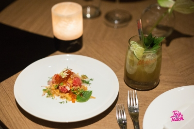Watermelon&ground salmon with crispy shallots, rosted coconut & salmon caviar, pair together with Mehkhong Thai Sabai