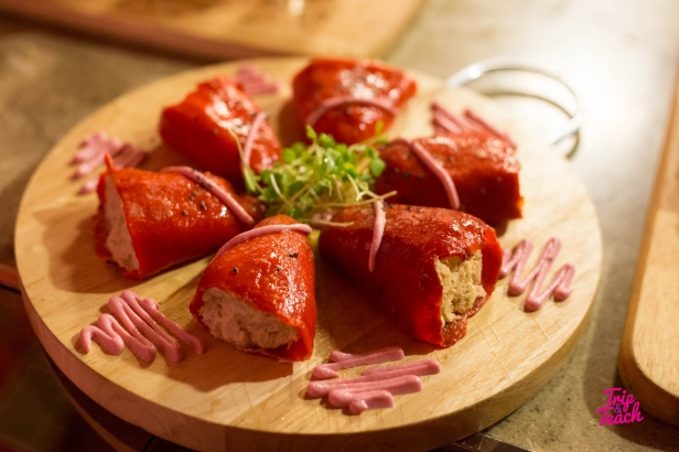 Piquillo red peppers with tuna filling and beetroot aioli, 300 Baht