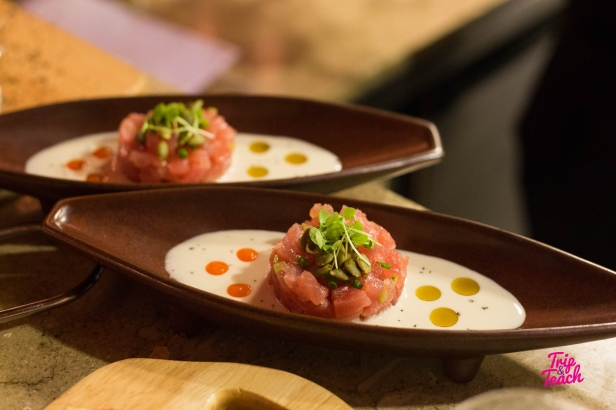 Tuna tartare with traditional Gazpacho sauce from Malaga&chili, 400 Baht Look how this dish is so appetizing. I love the juicy and mushy raw tuna that comes with the special creamy sauce.