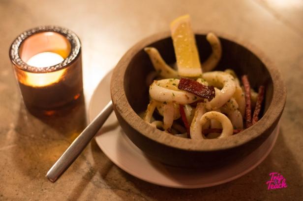 Catalan calamari sautéed with chorizo 160 Baht
