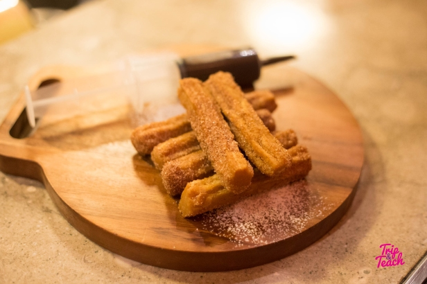 Dessert! Spanish churros with a hot chocolate sauce (takes 15 minutes), 190 Baht
